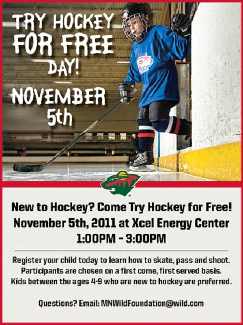 Try hockey free next Saturday at the Xcel Energy Center